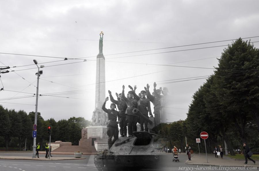 38.Рига 1944-2013 танкисты у памятника Свободы SL