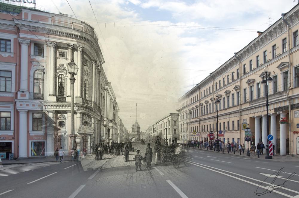 08.Невский проспект у Полицейского моста, Андре Дюран, 1843