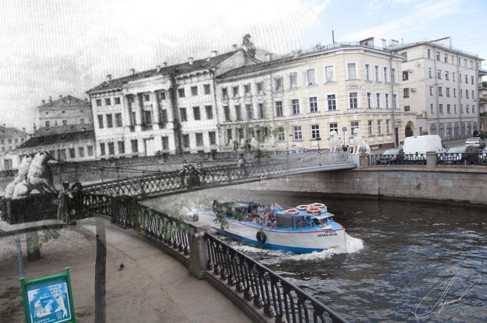 09.Львиный мост через Екатерининский канал. Литография Карла Петровича Беггрова, 1828 год