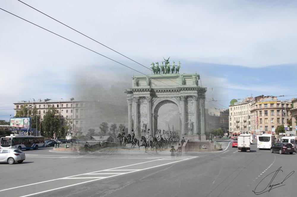 11.Нарвские Триумфальные ворота, гравюра 1834