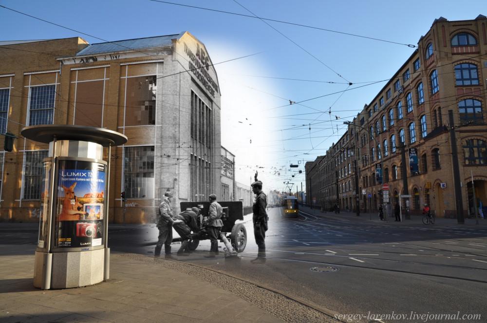001.Берлин 1945-2010 Советские артиллеристы у фабрики AEG на углу Wilhelminenhofstrasse и Edisonstrasse.jpg