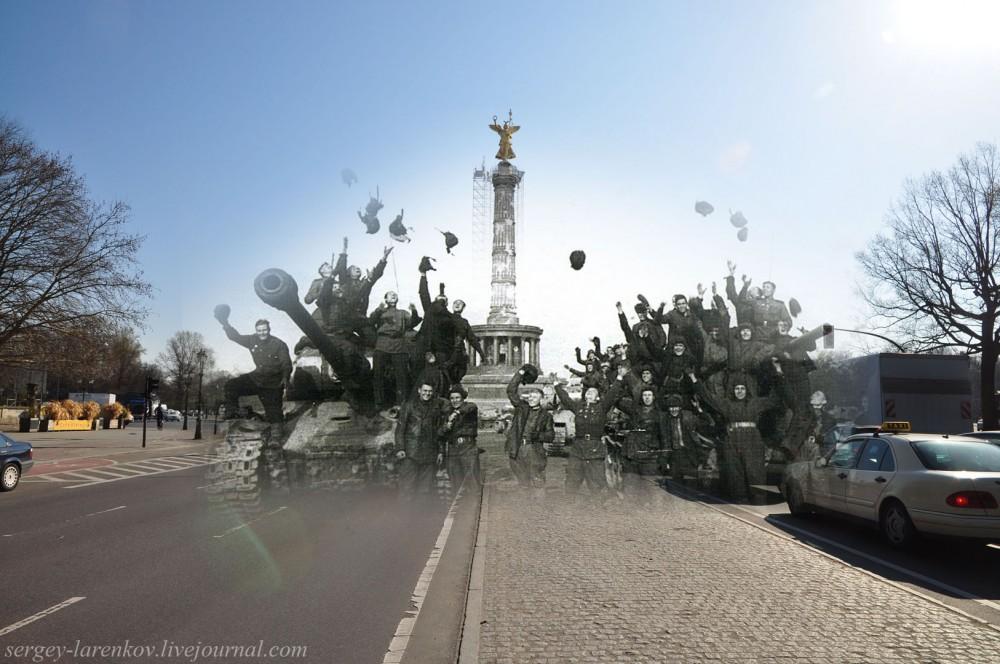 003.Берлин 1945-2010 Советские танкисты у площади Большой звезды - Grosser Stern platz.jpg