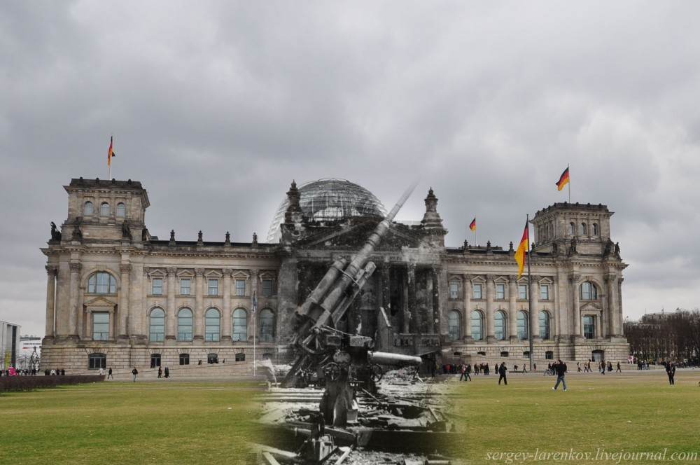 012.Берлин 1945-2010 Зенитка у Рейхстага.jpg
