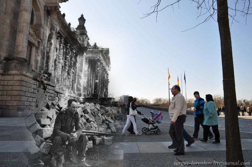 017.Берлин 1945-2010 Немецкий солдат у поверженного Рейхстага.jpg