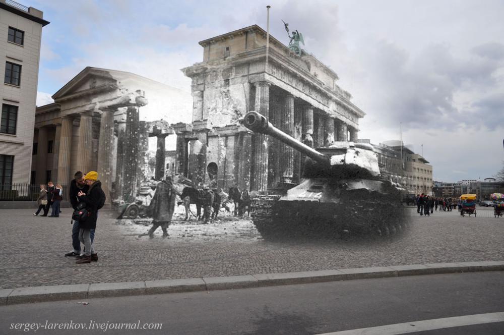 024.Берлин 1945-2010 Танк у Бранденбургских ворот.jpg