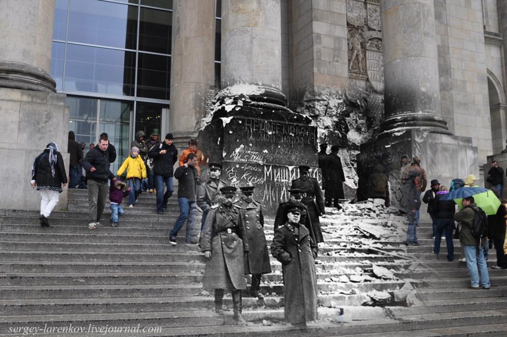 030.Берлин 1945-2010 Жуков на ступенях поверженного Рейхстага.jpg
