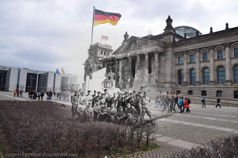 037.Берлин 1945-2010 Солдаты у Рейхстага.jpg