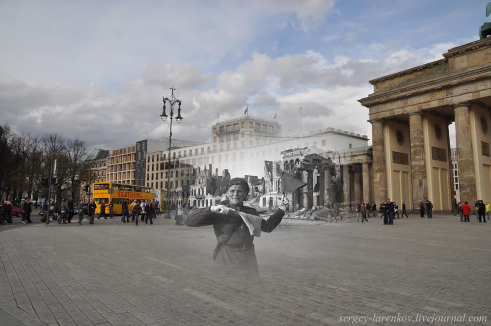 039.Берлин 1945-2010 Регулировщица у Бранденбургских ворот.jpg