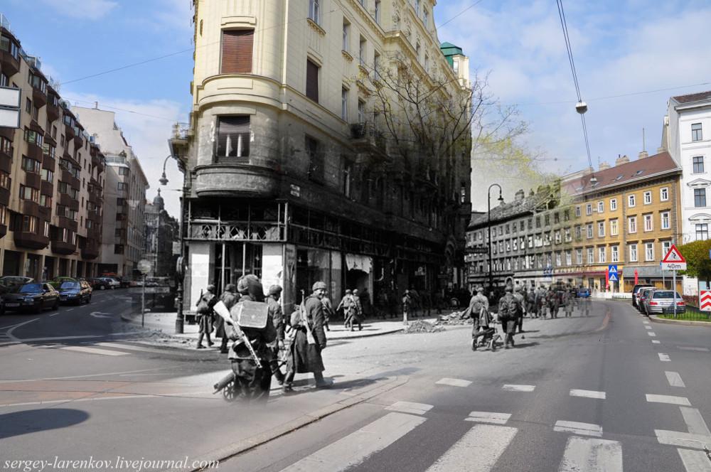 021.Вена 1945-2010 Стрелковые части продвигаются к центру вены по ул.Фаворитенштрассе.jpg