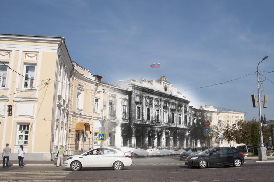 Калинин 1941-Тверь 2016  Разрушения на площади Ленина.jpg