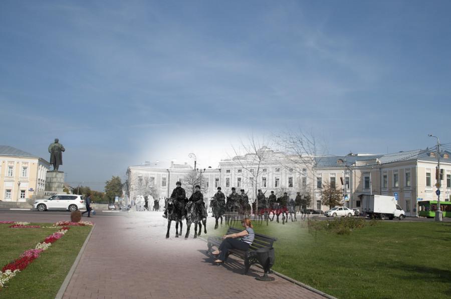 Калинин 1941-Тверь 2016 Войска Калининского фронта на Площади Ленина.jpg