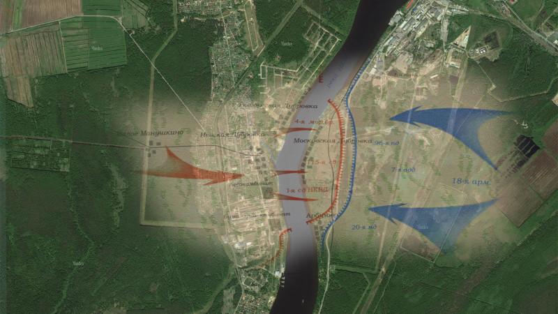 Общий план боевых действий на Невском пятачке, наложенный на спутниковую карту Яндекса.