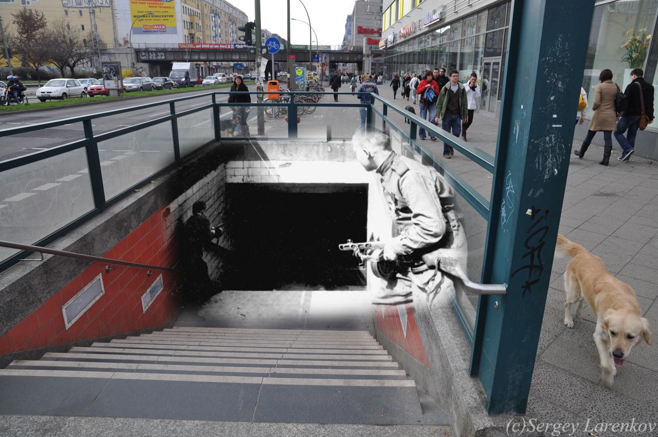 Берлин 1945/2010 Бой у станции метро Франкфуртер аллее.  Berlin 1945/2010 Fight at U-bahn station Frankfurter Allee.  Berlin 1945/2010 Der Kampf bei der U-Bahnhof Frankfurter Allee