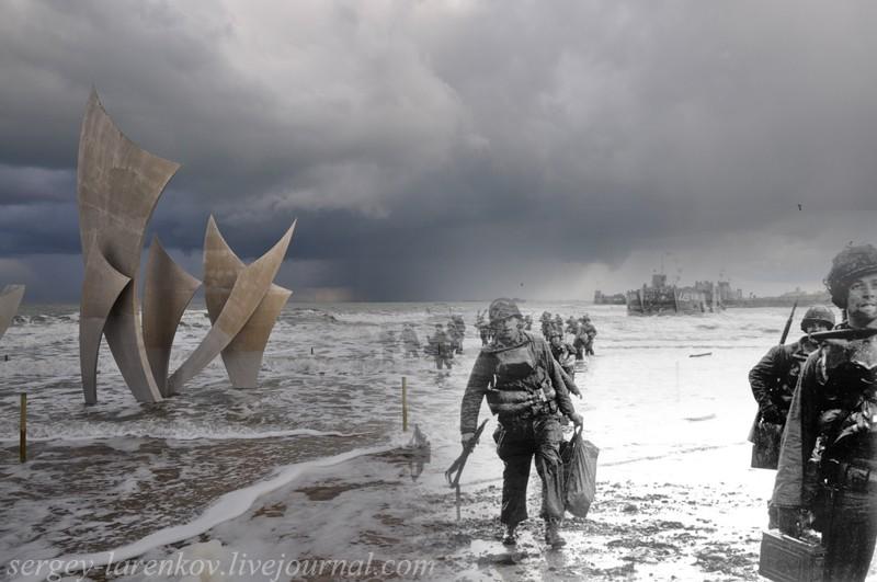 6 июня 1944, Нормандия. Высадка американских десантников на пляже Омаха. Памятник на месте высадки, 2010.