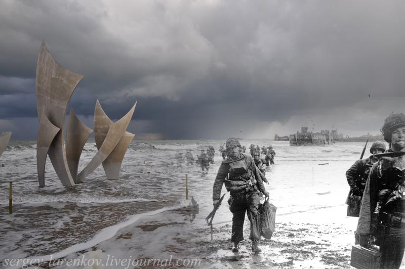 "D-day, June 6, 1944, Normandy. The landing of US troops on Omaha beach. Monument ""Les Braves"", Omaha beach, 2010. 6 июня 1944, Нормандия. Высадка американских десантников на пляже Омаха. Памятник на месте высадки, 2010."