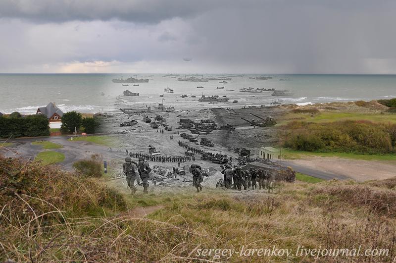 June 6, 1944, D-day, Normandy. The landing of US troops on Omaha beach. Нормандия, 6 июня 1944. Высадка американских десантников на пляже Омаха.