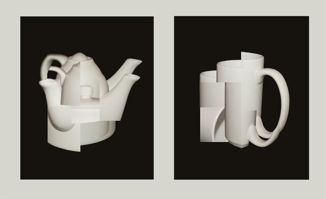 Чайник и кружка в стиле кубизма