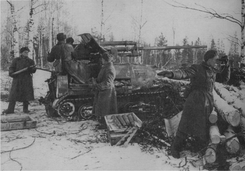 САУ ЗиС-30 на огневой позиции.
