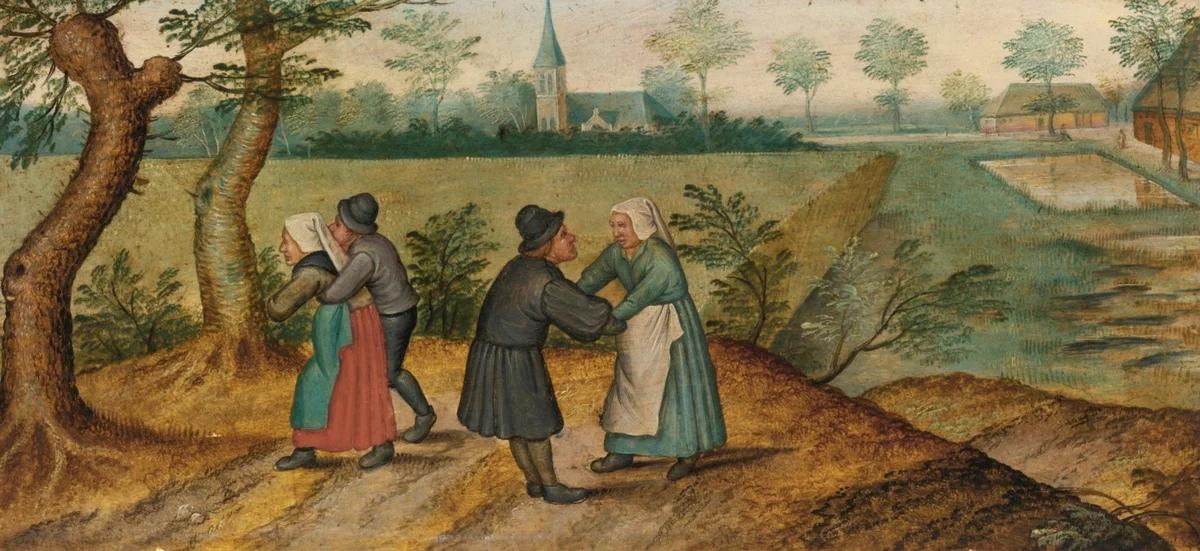 Сцены из жизни крестьян. Две влюбленные парочки. Питер Брейгель Младший, 1620-е