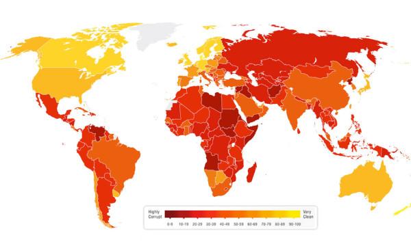 Karta po korrupcii v mire 2016 god