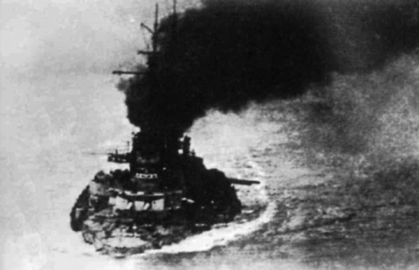 Seydlitz damaged at Jutland en route home