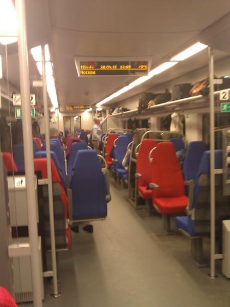 Внутри поезда Ласточка