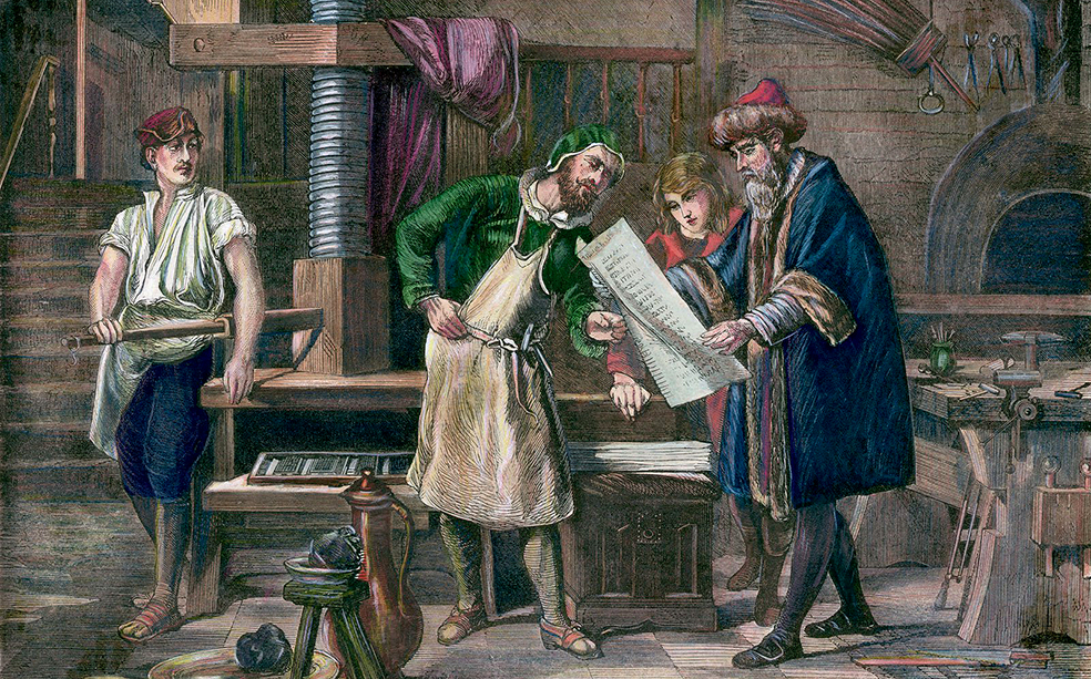 an analysis of the middle ages inventions and the introduction to the printing press by johann guten
