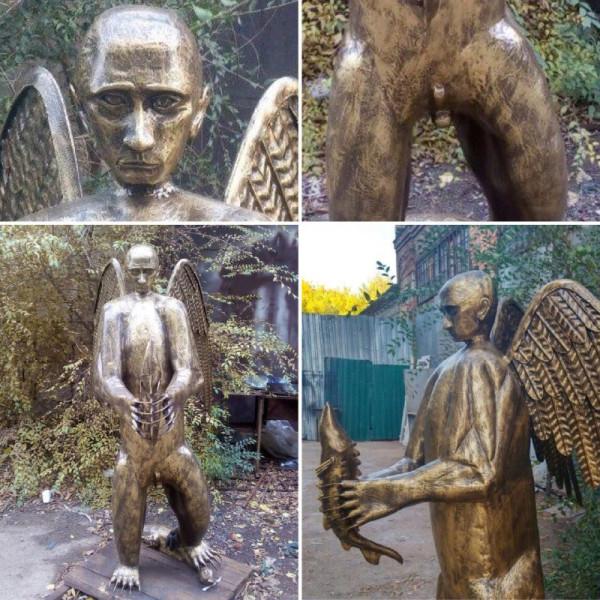 Житель Астрахани сделал скульптуру Путина. С медвежьим телом, крыльями и