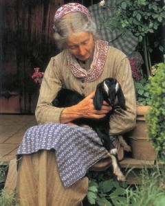 Tasha Tudor and goat