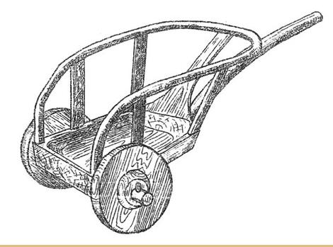 Реконструкция_колесницы_Катакомбной культуры {жила между 4500-4000 лет назад} , Украина. Это как бы переходный вариант, ещё и телега и уже не телега а как бы арба, но и не совсем аоба. Живая такая мысль человека, люди думали, пытались.