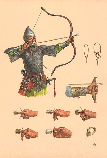 14в. Ордынский стрелок из лука, стрелковый щиток из Волжской Булгарии,способы натягивания тетивы