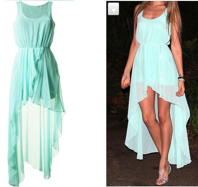 Платье мятного цвета со шлейфом