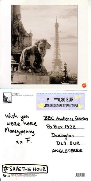savethehour postcard