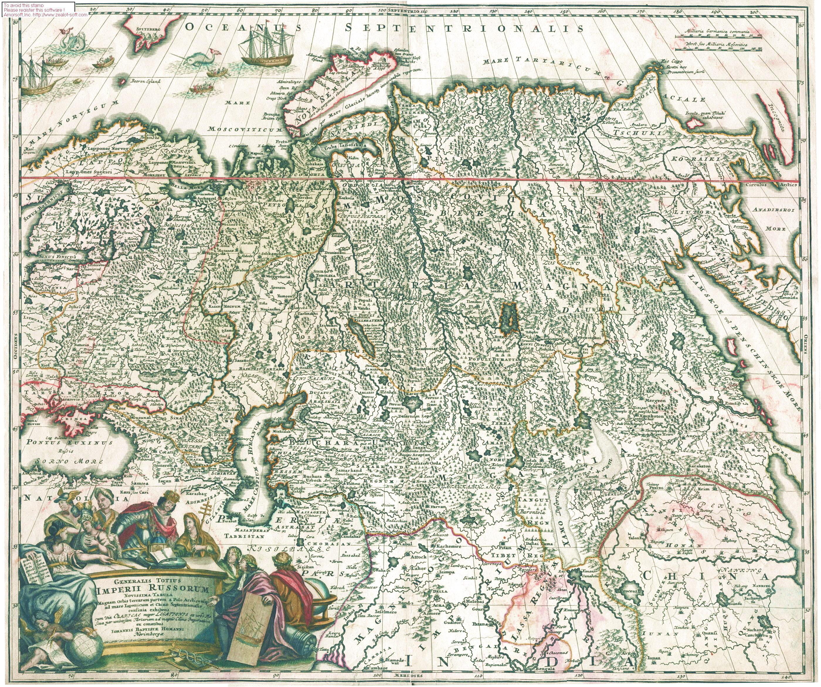 1725 Новейшая Генеральная Карта Великой Российской Империи Иоганна Хоманна отпечатана в Нюрнберге.jpg