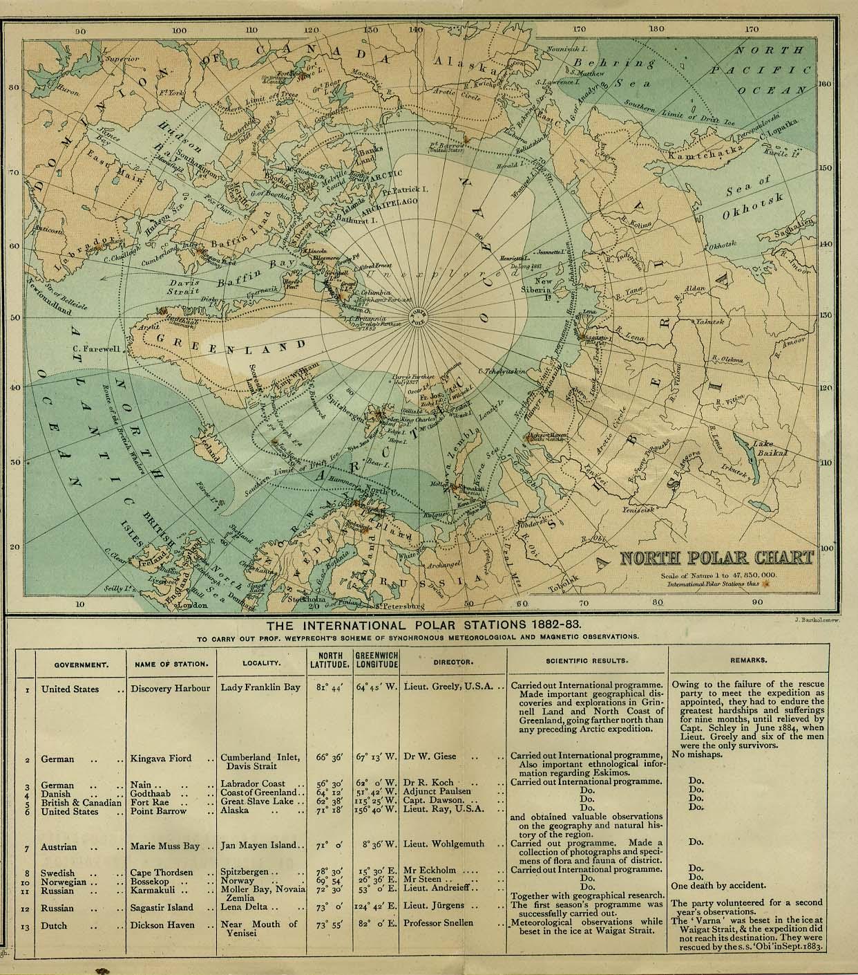 1885 Карта Арктики с указаниями 13 полярных станций, их координат и начальников.jpg