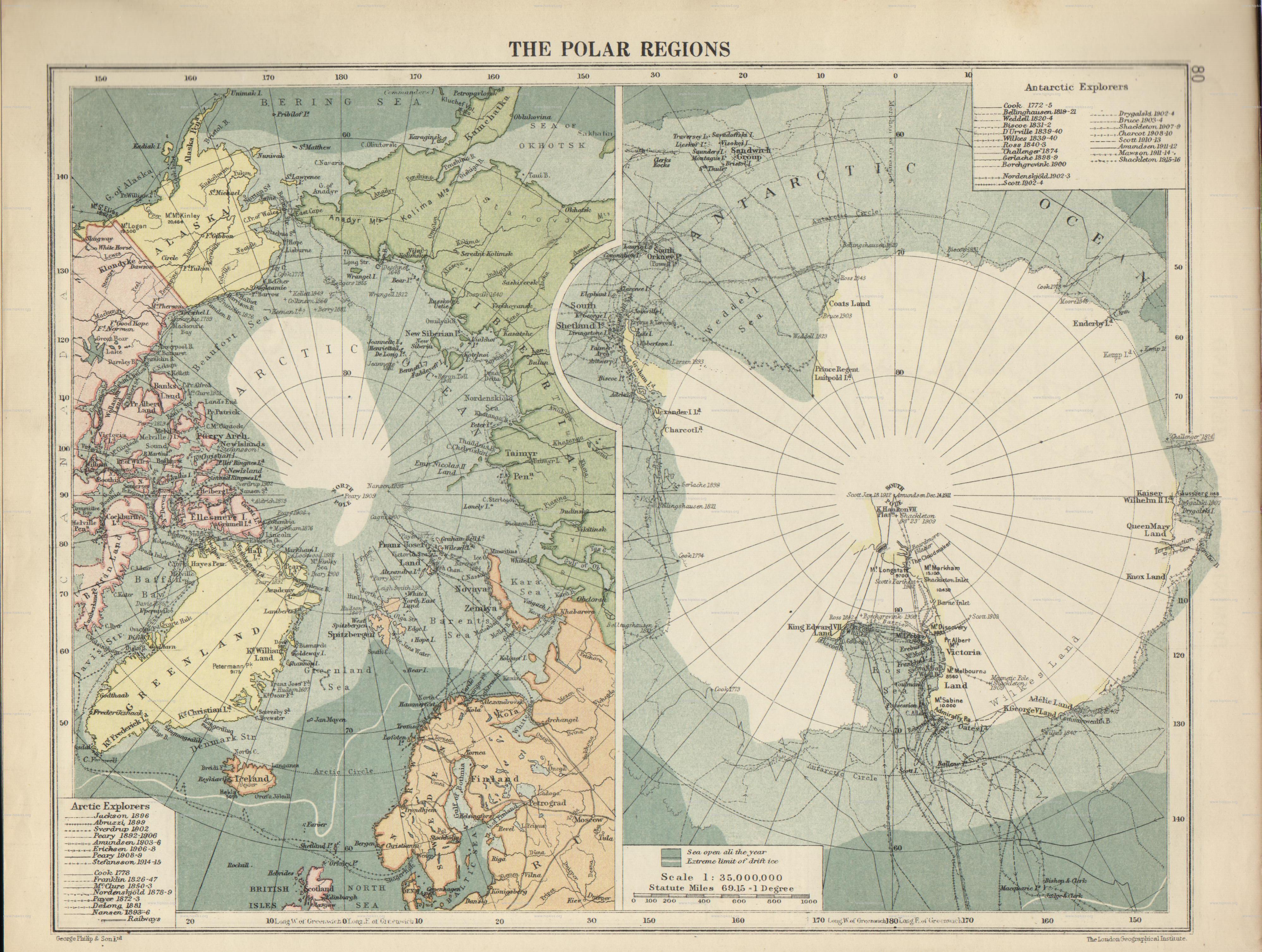 1920 Карты полярных райнов из Атласа Лондонского географического инстута.jpg