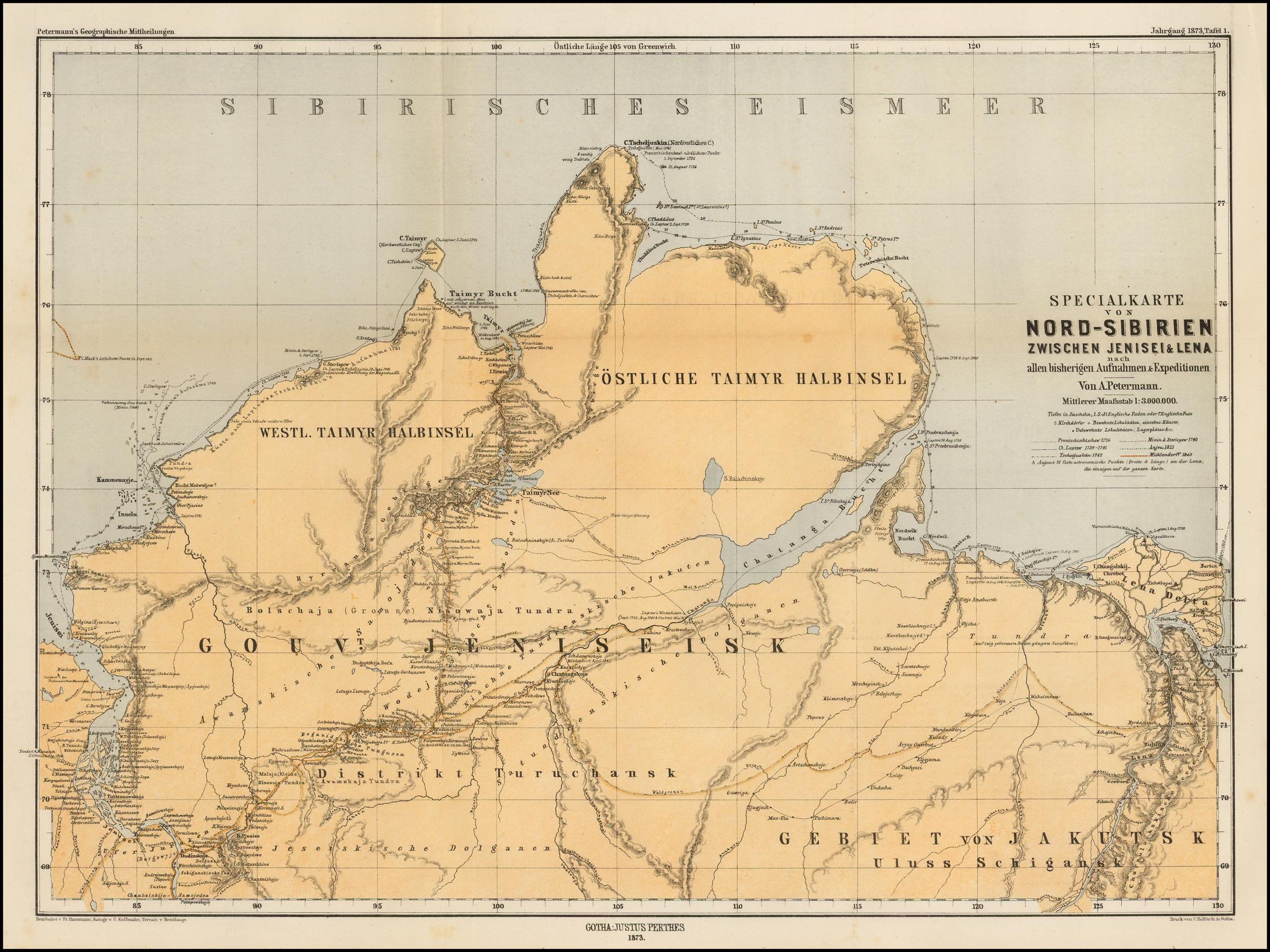 1873 Таймыр. Карта Петерманна.jpg
