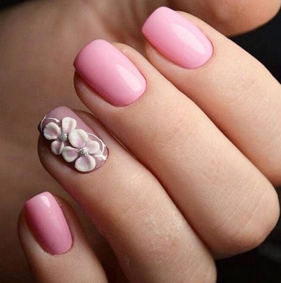розовый лак с объемным цветком сакура вишня