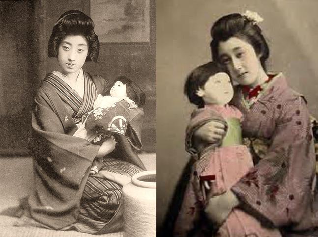 Винтажное фото девушки гейши японки с куклой старое фото японки с куклой с шарнирной куклой sevtao.ru шарнирные куклы