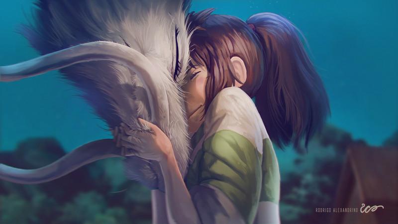 студия Дзибли (Studio Ghibli Rodrigo Alexandrino Чихиро и Хаку (Chihiro & Haku) унисенные призраками мультик аниме анимационный мульт сериал Хоку Тихиро. Чихиро Хокку. дракон . девочка попала в сказочный мир