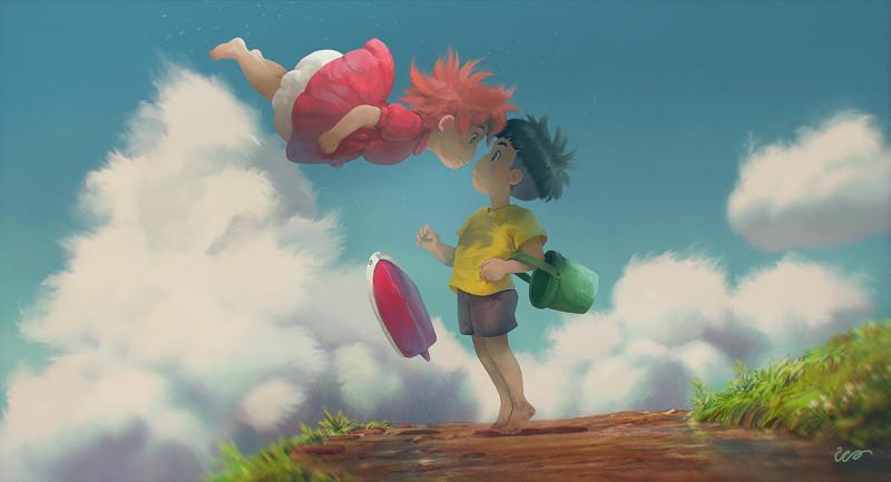 студия Дзибли (Studio Ghibli Rodrigo Alexandrino Рыбка понье на утесе аниме анимационный фильм мультфильм