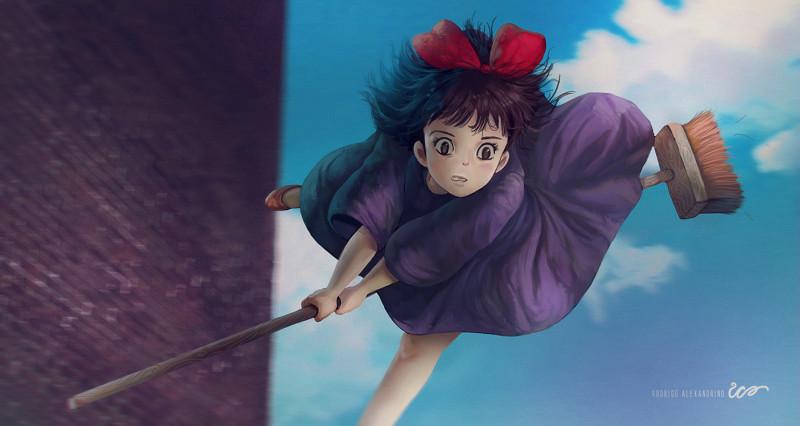 студия Дзибли (Studio Ghibli Rodrigo Alexandrino Ведьмина служба доставки Кики. ведьма на метле доставка посылок фильм мультфильм аниме анимационный фильм