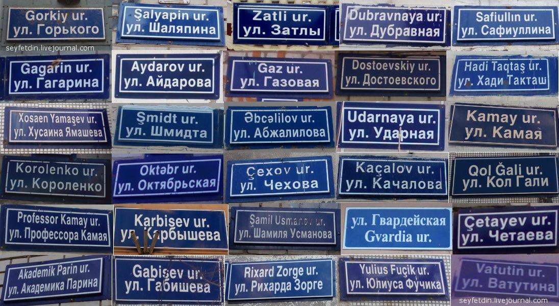 Татарская латиница на табличках с названиями улиц Казани
