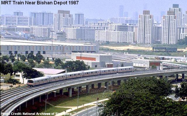Поезд MRT около депо Бишан (Bishan), 1987 год