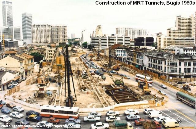 Строительство станции Бугис (Bugis MRT), 1980 год