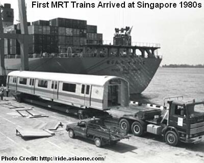 Первые вагоны для составов MRT прибывают в Сингапур в 1980-ых