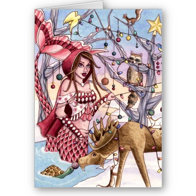 Mermaid Christmas card 02