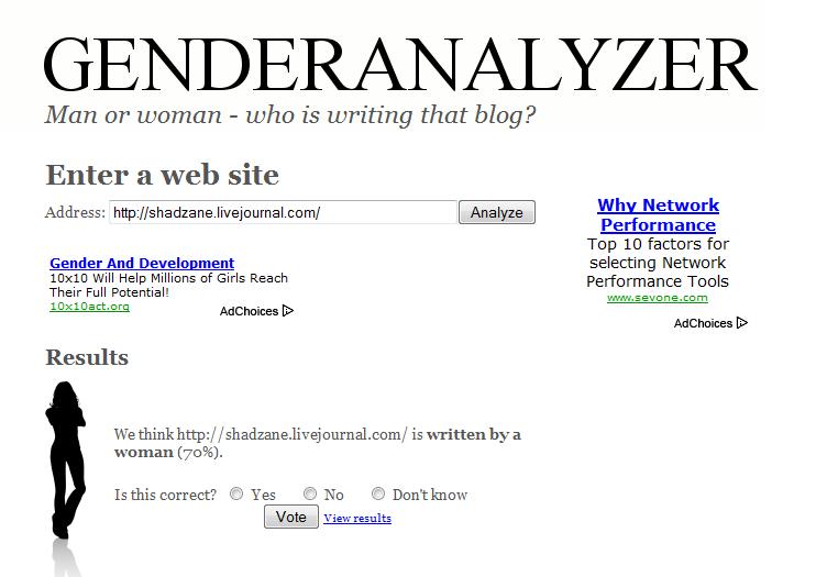 GenderAnalyzer results