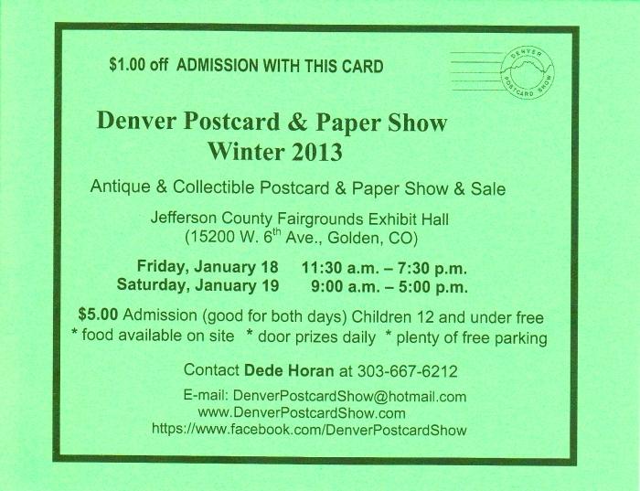 Denver Postcard & Paper Show Winter 2013