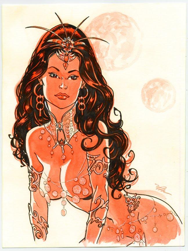 Deja Thoris watercolor by Michael Dooney